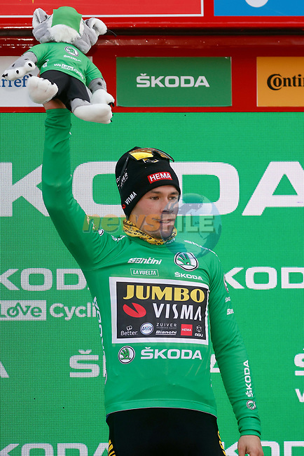 Race leader Primoz Poglic (SLO) Team Jumbo-Visma retains the points Green Jersey at the end of Stage 11 of the Vuelta Espana 2020 running 170km from Villaviciosa to Alto de la Farrapona, Spain. 31st October 2020.    <br /> Picture: Luis Angel Gomez/PhotoSportGomez | Cyclefile<br /> <br /> All photos usage must carry mandatory copyright credit (© Cyclefile | Luis Angel Gomez/PhotoSportGomez)