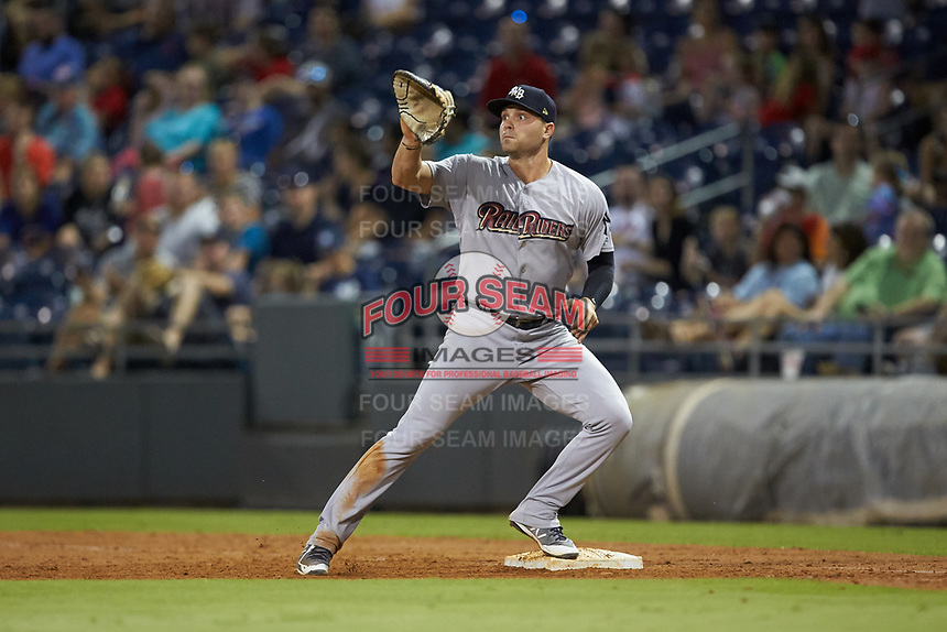 Scranton/Wilkes-Barre RailRiders first baseman Ryan McBroom (6) waits for a throw during the game against the Gwinnett Stripers at Coolray Field on August 16, 2019 in Lawrenceville, Georgia. The Stripers defeated the RailRiders 5-2. (Brian Westerholt/Four Seam Images)