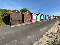 BNPS.co.uk (01202) 558833. <br /> Pic: Winkworth/BNPS<br /> <br /> Pictured: The second row of huts at Friars Cliff Beach.  <br /> <br /> A beach hut that looks more like a garden shed you could buy from B&Q for £500 has gone the market - for almost £60,000.<br /> <br /> At 7ft by 8ft the timber cabin is about the same size as most garden sheds, but its idyllic location makes it far more valuable.<br /> <br /> Hut 128 is on Friars Cliff Beach in Christchurch, Dorset.<br /> <br /> The dilapidated hut is about 30 years old and in need of replacing. It doesn't have any fixtures or fittings and is just an empty shell.