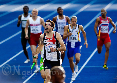 23 AUG 2009 - BERLIN, GER - Martyn Rooney (GBR) celebrates taking the team to second place in the Mens 4 x 400m Relay Final at the World Athletics Championships (PHOTO (C) NIGEL FARROW)