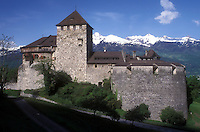 AJ1667, castle, Liechtenstein, Vaduz, Europe, The Vaduz Castle residence of the Prince and Princess in the scenic alpine countryside of Vaduz the capital of Liechtenstein.