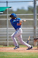 GCL Mets third baseman Jaylen Palmer (22) grounds out during a game against the GCL Cardinals on August 6, 2018 at Roger Dean Chevrolet Stadium in Jupiter, Florida.  GCL Cardinals defeated GCL Mets 6-3.  (Mike Janes/Four Seam Images)