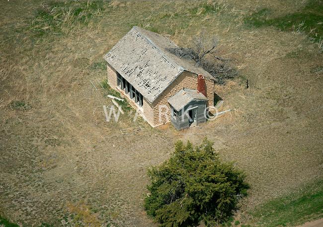 Abandoned Kansas one-room schoolhouse. May 2014. 83902