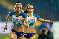 1st May 2021; Silesian Stadium, Chorzow, Poland; World Athletics Relays 2021. Day 1; Jessie Knight takes the baton from Zoey Clark of Great Britain in the women's 4 x 400 heats