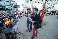 """Baergida Montagsdemonstration in Berlin.<br /> Ca. 150 Anhaenger des Berliner Pegida-Ablegers """"Baergida"""" zogen mit einer Demonstration vom Hauptbahnhof zum Roten Rathaus. Unter den Teilnehmern waren wie immer etwa 30-35 Fussball-Hooligans, sog. """"Reichsbuerger"""", Verschwoerungstheoretiker und Rechtsradikale. Die Demonstranten riefen immer wieder Parolen wie gegen anwesende Journalisten und gegen die Bundesregierung. Ein Journalist, der in der Vorwoche von Baergida-Anhaengern verpruegelt und verletzt wurde, wurde erneut verbal bedroht.<br /> Im Bild vlnr.: Baergida- und Patrioten e.V.-Initiator Karl Schmitt und Baergida-Pressesprecher """"Reiner Zufall"""" alias Heribert Eisenhardt vom AfD-Kreisverband Lichtenberg.<br /> 4.5.2015, Berlin<br /> Copyright: Christian-Ditsch.de<br /> [Inhaltsveraendernde Manipulation des Fotos nur nach ausdruecklicher Genehmigung des Fotografen. Vereinbarungen ueber Abtretung von Persoenlichkeitsrechten/Model Release der abgebildeten Person/Personen liegen nicht vor. NO MODEL RELEASE! Nur fuer Redaktionelle Zwecke. Don't publish without copyright Christian-Ditsch.de, Veroeffentlichung nur mit Fotografennennung, sowie gegen Honorar, MwSt. und Beleg. Konto: I N G - D i B a, IBAN DE58500105175400192269, BIC INGDDEFFXXX, Kontakt: post@christian-ditsch.de<br /> Bei der Bearbeitung der Dateiinformationen darf die Urheberkennzeichnung in den EXIF- und  IPTC-Daten nicht entfernt werden, diese sind in digitalen Medien nach §95c UrhG rechtlich geschuetzt. Der Urhebervermerk wird gemaess §13 UrhG verlangt.]"""