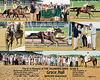 This winphoto of Grace Hall is a really special photograph.<br /> First it this was the largest group of people ever in a winner's circle group at Delaware Park.  I was sooo happy the track was not muddy.  <br /> Second the trophy was presented by the then Delaware Attorney General Beau Biden, who tragically passed a few years later.  Beau was a very special part of the Delaware community and a close friend to many who attended Oaks Day.