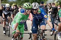 The fairy tale return at the highest level of the sport continues for Mark Cavendish (GBR/Deceuninck - Quick Step) as he wins his 33rd  stage in the Tour de France and shares his joy with his teammates, like with Michael Morkov (DEN/Deceuninck - Quick Step) here<br /> <br /> Stage 10 from Albertville to Valence (191km)<br /> 108th Tour de France 2021 (2.UWT)<br /> <br /> ©kramon
