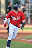 Elizabethton Twins second baseman Travis Blakenhorn (7) runs to first base during a game against the Bristol Pirates at Joe O'Brien Field on July 30, 2016 in Elizabethton, Tennessee. The Twins defeated the Pirates 6-3. (Tony Farlow/Four Seam Images)