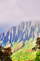 Kalalau Valley with fog. Koke'e State Park. Waimea Canyon. Kauai, Hawaii