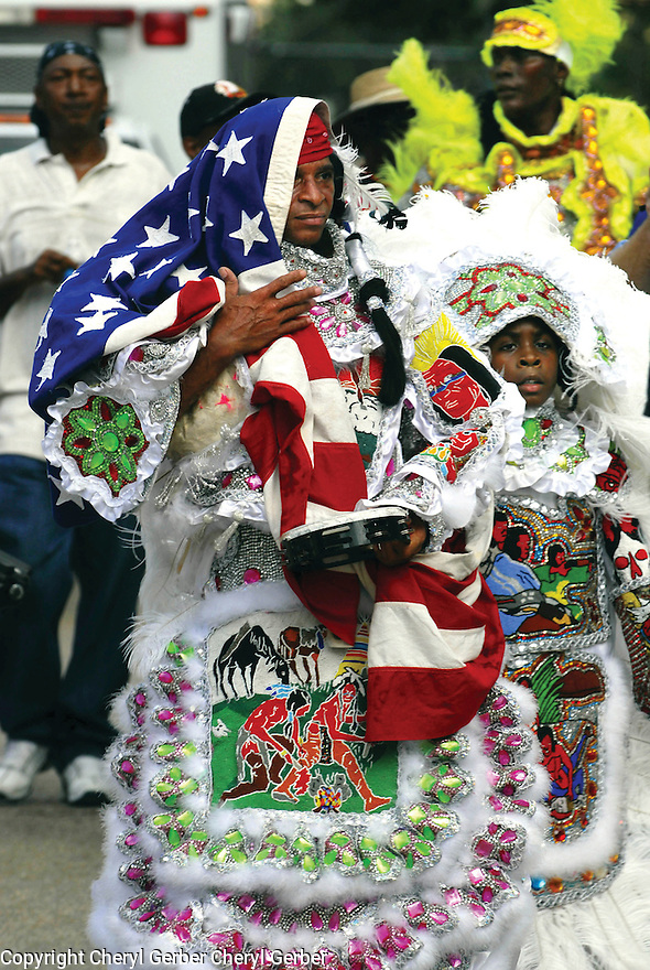 """Mardi Gras Indian Big Chief """"Lil"""" Walter Cook of the Creole Wild West, first anniversary of Hurricane Katrina, 2006"""