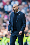 Manager Zinedine Zidane of Real Madrid reacts during the La Liga 2017-18 match between Real Madrid and Deportivo Alaves at Santiago Bernabeu Stadium on February 24 2018 in Madrid, Spain. Photo by Diego Souto / Power Sport Images