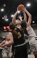 Prairie Grove center Olivia Kestner (55) shoots, Friday, January 8, 2021 during a basketball game at Pea Ridge High School in Pea Ridge. Check out nwaonline.com/210108Daily/ for today's photo gallery. <br /> (NWA Democrat-Gazette/Charlie Kaijo)