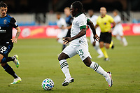 SAN JOSE, CA - SEPTEMBER 16: Yimmi Chara #23 of the Portland Timbers during a game between Portland Timbers and San Jose Earthquakes at Earthquakes Stadium on September 16, 2020 in San Jose, California.