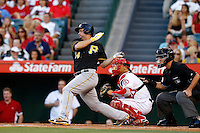 Gaby Sanchez #14 of the Pittsburgh Pirates bats against the Los Angeles Angels at Angel Stadium on June 21, 2013 in Anaheim, California. (Larry Goren/Four Seam Images)