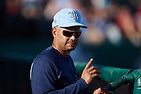 Tampa Bay Rays Infield Coordinator Ivan Ochoa during the game between the Augusta GreenJackets and the Charleston RiverDogs at Joseph P. Riley, Jr. Park on June 27, 2021 in Charleston, South Carolina. (Brian Westerholt/Four Seam Images)
