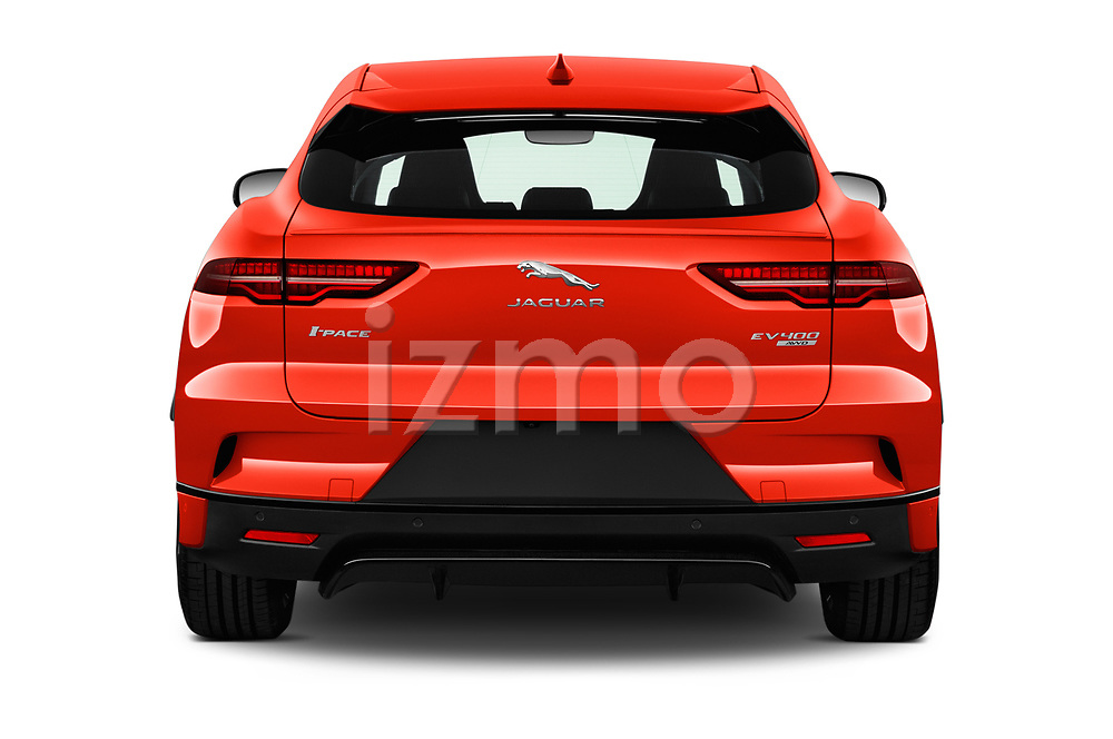 Straight rear view of a 2019 Jaguar I Pace S 5 Door SUV stock images