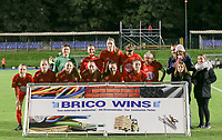 Woluwe players posing with their sponsor before a female soccer game between FC Femina WS Woluwe and Standard Femina de Liege on the fourth match day of the 2020 - 2021 season of Belgian Womens Super League , Friday 8th of October 2020  in Liege , Belgium . PHOTO SPORTPIX.BE | SPP | SEVIL OKTEM
