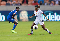 HOUSTON, TX - JANUARY 28: Crystal Dunn #19 of the United States dribbles during a game between Haiti and USWNT at BBVA Stadium on January 28, 2020 in Houston, Texas.