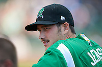 Dayton Dragons pitcher Dan Jensen #38 during a Midwest League game against the Fort Wayne TinCaps at Parkview Field on August 19, 2012 in Fort Wayne, Indiana.  Dayton defeated Fort Wayne 5-1.  (Mike Janes/Four Seam Images)