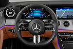Steering wheel view of a 2021 Mercedes Benz E Class AMG Line 2 Door Coupe