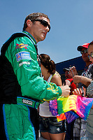 19 June, 2011: Bobby Labonte signs for the fans prior to qualifying for the 43rd Annual Heluva Good! Sour Cream Dips 400 at Michigan International Speedway in Brooklyn, Michigan. (Photo by Jeff Speer :: SpeerPhoto.com)