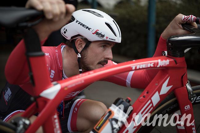 John Degenkolb (DEU/Trek-Segafredo) checking all the details one last time before race-day<br /> <br /> preparing for the 108th Milano - Sanremo 2017<br /> (day before the race)