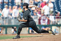 Vanderbilt Commodores pitcher Patrick Raby (29) delivers a pitch to the plate during Game 8 of the NCAA College World Series against the Mississippi State Bulldogs on June 19, 2019 at TD Ameritrade Park in Omaha, Nebraska. Vanderbilt defeated Mississippi State 6-3. (Andrew Woolley/Four Seam Images)