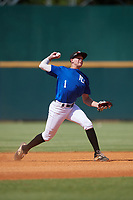 Evan Appelwick (1) of Madison High School in Madison, SD during the Perfect Game National Showcase at Hoover Metropolitan Stadium on June 19, 2020 in Hoover, Alabama. (Mike Janes/Four Seam Images)