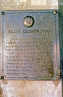 Philippines: Manila--a plague for Rajah Soliman Park. Photo '82.