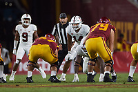 LOS ANGELES, CA - SEPTEMBER 11: Jacob Mangum-Farrar #14 of the Stanford Cardinal gets ready for a play during a game between University of Southern California and Stanford Football at Los Angeles Memorial Coliseum on September 11, 2021 in Los Angeles, California.