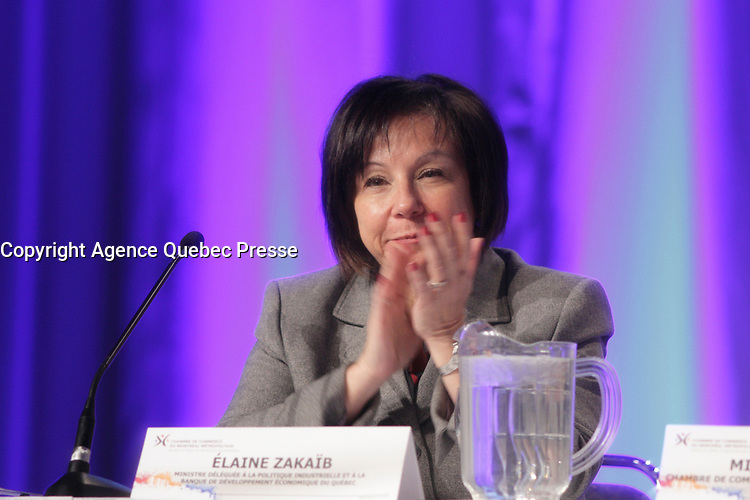 February 21, 2014 - Elaine Zakaib<br /> Minister for Industrial Policy and the Banque de developpement economique du Quebec, attend a Strategic Forum on the manufacturing sector<br /> <br /> Elaine Zakaib, ministre deleguee à la Politique industrielle et a la Banque de developpement economique du Quebec participe au Forum strategique sur le secteur manufacturier<br /> <br /> Photo : (c) COPYRIGHT Pierre Roussel<br /> <br /> PHOTO :  Agence Quebec Presse