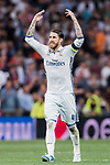 Sergio Ramos of Real Madrid reacts during their 2016-17 UEFA Champions League Quarter-finals second leg match between Real Madrid and FC Bayern Munich at the Estadio Santiago Bernabeu on 18 April 2017 in Madrid, Spain. Photo by Diego Gonzalez Souto / Power Sport Images