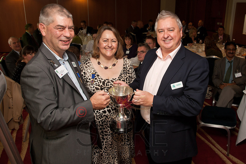Pictured from left Golf Day organisers Trevor Harris and past president Deborah Labbate with Barry Cockburn, whose firm Sherwood Place Wealth Management won the Nottingham City Business Club Golf Day tournament.