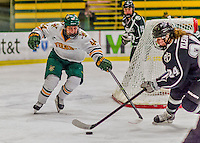 1 February 2015: University of Vermont Catamount Forward Victoria Andreakos, a Sophomore from Aurora, Ontario, in second period action against the visiting Providence College Friars at Gutterson Fieldhouse in Burlington, Vermont. The Lady Cats defeated the Friars 7-3 in Hockey East play. Mandatory Credit: Ed Wolfstein Photo *** RAW (NEF) Image File Available ***