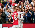 Nederland, Amsterdam, 10 mei 2015<br /> Eredivisie<br /> Seizoen 2014-2015<br /> Ajax-SC Cambuur<br /> Viktor Fischer viert zijn doelpunt, de 2-0, met Daley Sinkgraven van Ajax.