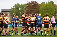 Tempers flare during the Greene King IPA Championship match between London Scottish Football Club and Richmond at Richmond Athletic Ground, Richmond, United Kingdom on 27 April 2019. Photo by Carlton Myrie.