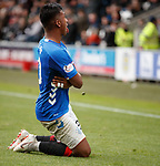 03.11.18 St Mirren v Rangers: Alfredo Morelos celebrates his goal and is hit by a coin