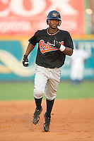 Shortstop Rodolfo Cardona (6) of the Bluefield Orioles rounds the bases following his 2-run home run at Burlington Athletic Park in Burlington, NC, Saturday, July 26, 2008. (Photo by Brian Westerholt / Four Seam Images)