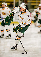 20 January 2017: University of Vermont Catamount Forward Liam Coughlin, a Sophomore from South Boston, MA, warms up prior to a game against the University of Connecticut Huskies at Gutterson Fieldhouse in Burlington, Vermont. The Catamounts held on to defeat the Huskies 5-4 in Hockey East play. Mandatory Credit: Ed Wolfstein Photo *** RAW (NEF) Image File Available ***