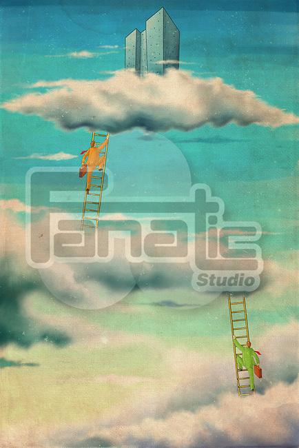 Illustrative image of businessmen climbing corporate ladder in sky