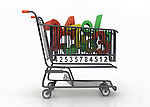 Illustrative image of numbers in shopping cart representing sale over white background