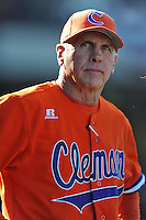 Clemson Tigers head coach Jack Leggett during a game against the South Carolina Gamecocks at Fluor Field on March 1, 2014 in Greenville, South Carolina. The Gamecocks defeated the Tigers 10-2. (Tony Farlow/Four Seam Images)
