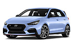 Stock pictures of low aggressive front three quarter view of a 2018 Hyundai i30 N Performance Pack Select Doors Door Hatchback