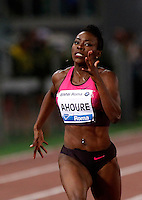 Golden Gala di atletica leggera allo stadio Olimpico di Roma, 6 giugno 2013.<br /> Ivory Coast's Murielle Ahoure runs on her way to win the women's 200 meters race at the Golden Gala IAAF athletics meeting at Rome's Olympic stadium, 6 June 2013.<br /> UPDATE IMAGES PRESS/Isabella Bonotto