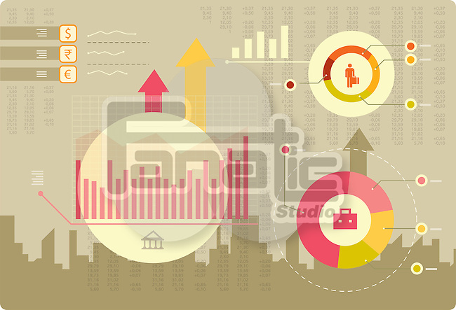 Illustrative image of share market in infographic style