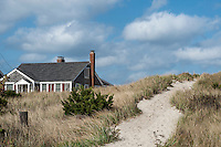 Beach cottage and dune path, Cape Cod, Massachusetts, USA