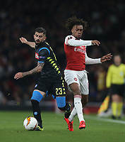 Arsenal's Alex Iwobi and Napoli's Elseid Hysaj<br /> <br /> Photographer Rob Newell/CameraSport<br /> <br /> UEFA Europa League First Leg - Arsenal v Napoli - Thursday 11th April 2019 - The Emirates - London<br />  <br /> World Copyright © 2018 CameraSport. All rights reserved. 43 Linden Ave. Countesthorpe. Leicester. England. LE8 5PG - Tel: +44 (0) 116 277 4147 - admin@camerasport.com - www.camerasport.com