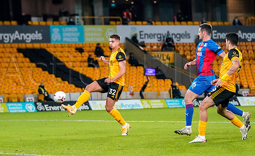 30th October 2020; Molineux Stadium, Wolverhampton, West Midlands, England; English Premier League Football, Wolverhampton Wanderers versus Crystal Palace; Leander Dendoncker of Wolverhampton Wanderers has a chance at goal but vollies the ball over the cross bar