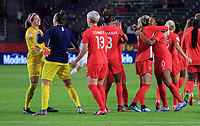 CARSON, CA - FEBRUARY 07: Stephanie Labbe #1, Kailen Sheridan #18, Sophie Schmidt #13, Kadeisha Buchanan #3 and Ashley Lawerance #10 of Canada celebrate their win over Costa Rica and book a trip to the 2020 Tokyo Olympics during a game between Canada and Costa Rica at Dignity Health Sports Park on February 07, 2020 in Carson, California.