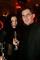 Journalist Bernard Bujold (R) at the official opening of XO : the restaurant of the Saint James boutique hotel in Montreal canada, Nnvember 16 2005.<br /> <br /> The luxurious hotel receive guest such as Madonna, U2, Gerard Depardieu.